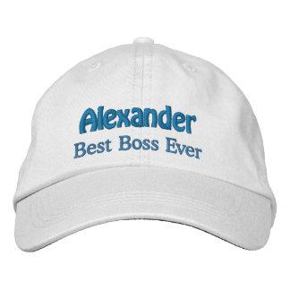 Best Boss Custom Name WHITE with BLUE Thread V02 Embroidered Baseball Caps