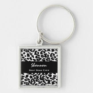 Best Boss Ever Custom Name Black White Leopard Keychain