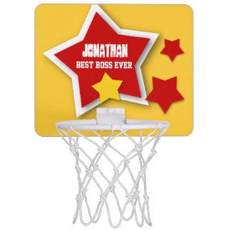 Best Boss Ever Custom Name with Stars V01 Mini Basketball Hoop