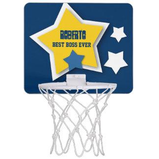 Best Boss Ever Custom Name with Stars V04 Mini Basketball Backboard