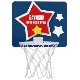 Best Boss Ever Custom Name with Stars V04 Mini Basketball Hoop