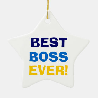 BEST  BOSS  EVER! Double-Sided STAR CERAMIC CHRISTMAS ORNAMENT