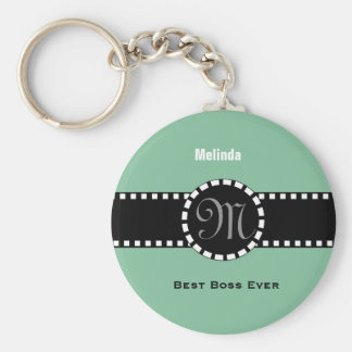 Best Boss Ever with Ribbon and Monogram 001 Basic Round Button Keychain