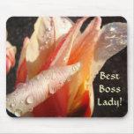 BEST BOSS LADY! ORANGE TULIP FLOWER Mousepad