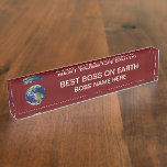 Best Boss On Earth With Planet Earth Desk Name Plate