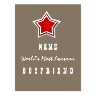 Best BOYFRIEND Ever Red and Tan Star Gift V1 Postcard