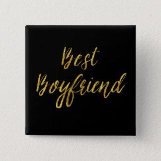 Best Boyfriend Gold Faux Glitter Metallic Sequins Button