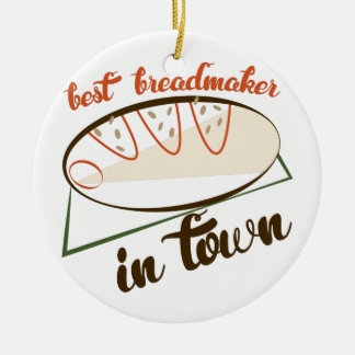 Best Breadmaker Double-Sided Ceramic Round Christmas Ornament