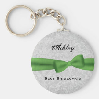 Best Bridesmaid Custom Name Printed Bow Gift Basic Round Button Keychain