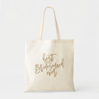 BEST BRIDESMAID EVER GLITTER wedding day tote
