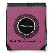 Best Bridesmaid Ever Pink Polka Dot Pattern Drawstring Backpack