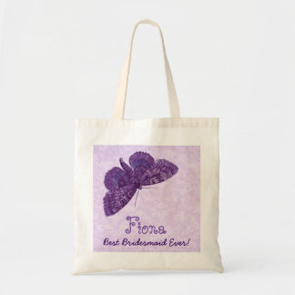 Best Bridesmaid Ever Purple Vintage Butterfly Tote Bag