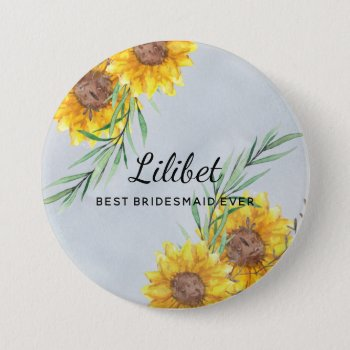 Best BRIDESMAID Gift SUNFLOWERS Personalized Button