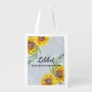 Best BRIDESMAID Gift SUNFLOWERS Personalized Grocery Bag