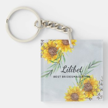 Best BRIDESMAID Gift SUNFLOWERS Personalized Keychain