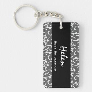 Best Bridesmaid Silver Swirls Gift Collection Keychain