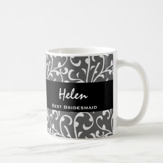 Best Bridesmaid Silver Swirls Gift Collection Coffee Mugs