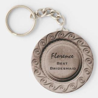Best Bridesmaid Wedding Favor Curlicue Frame Sand Keychains