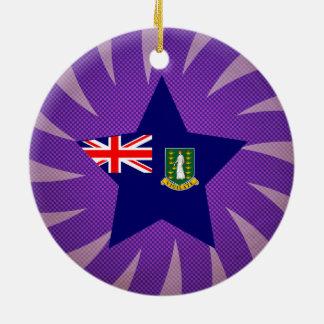 Best British Virgin Islands Flag Design Double-Sided Ceramic Round Christmas Ornament