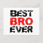 Best BRO Ever Grunge Style Red and Black Z804 Postcard