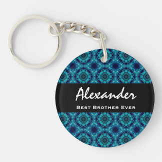 Best BROTHER Ever Blue and Green Mosaic Tile Keychain