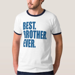 Men's Basic Ringer T-Shirt with Best. Brother. Ever. (blue) design