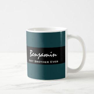 Best Brother Ever Teal and Black Custom Name Z10 Coffee Mug