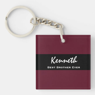 Best Brother Ever Violet and Black Custom Name Z12 Double-Sided Square Acrylic Keychain