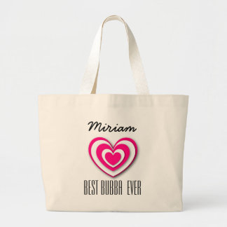 Best Bubba Custom Name 3D Look Layered Hearts V03 Large Tote Bag