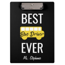 Best Bus Driver Ever Personalized Yellow Black Clipboard