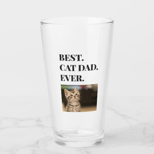 Best Cat Dad Ever Photo Beer Pint Glass