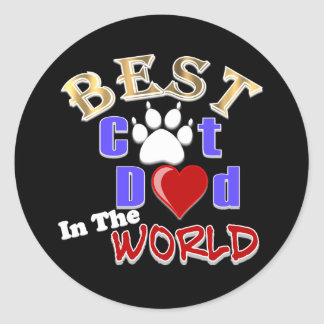 Best Cat Dad In The World for Father's Day Classic Round Sticker