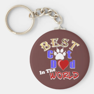 Best Cat Dad In The World for Father's Day Keychain