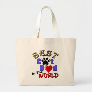 Best Cat Dad In The World for Father's Day Large Tote Bag