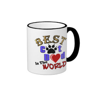 Best Cat Dad In The World for Father's Day Ringer Coffee Mug