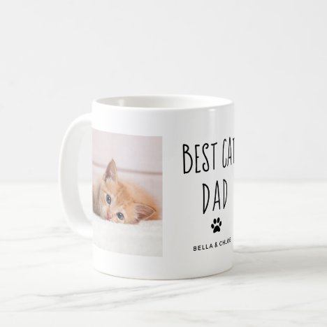 Best Cat Dad | Two Photo Handwritten Text Coffee Mug