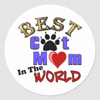 Best Cat Mom In The World Gifts for Mother's Day Classic Round Sticker