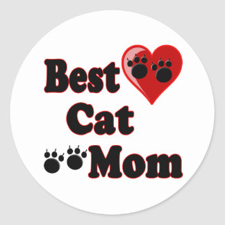 Best Cat Mom Merchandise for Mother's Classic Round Sticker