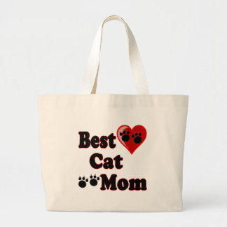 Best Cat Mom Merchandise for Mother's Large Tote Bag