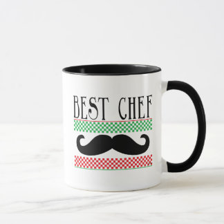 Best Chef - Black Mustache Green and Red Checkers Mug