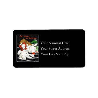 Best Christmas Wishes Vintage Address Label