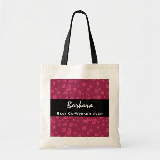 Best Co-Worker Ever Custom Name Pink Leopard Budget Tote Bag