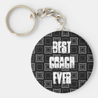 Best Coach Ever Modern Black Silver Squares Keychain