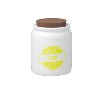 Best Cook Ever Yellow Candy Jar