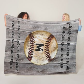 Best Cool Rustic Personalized Baseball Coach Gifts Fleece Blanket