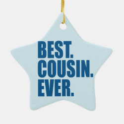 Star Ornament with Best. Cousin. Ever. (blue) design