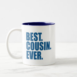 Two-Tone Mug with Best. Cousin. Ever. (blue) design