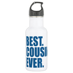 Water Bottle (24 oz) with Best. Cousin. Ever. (blue) design