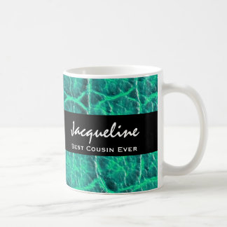 Best COUSIN Ever Teal Green Alligator Print Gift Classic White Coffee Mug
