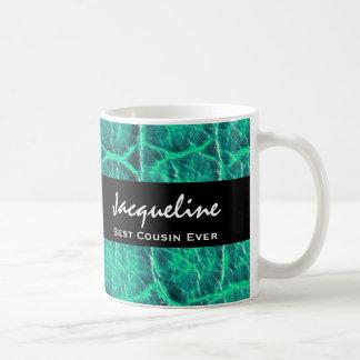 Best COUSIN Ever Teal Green Alligator Print Gift Coffee Mug